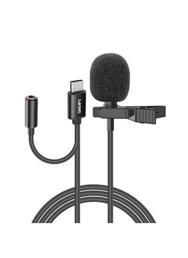 Snopy Sn-Mtk45 Siyah Type-C Akıllı Telefon, Tik-Tok Ve Youtuber Kulaklık Çıkışlı Yaka Mikrofonu Renkli